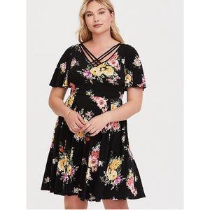 Torrid Black Floral Jersey Knit Skater Dress 2X